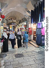 JERUSALEM - OCT 28: Oriental market in old Jerusalem offers...