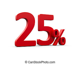 Red twenty five percent sign isolated on white background,...