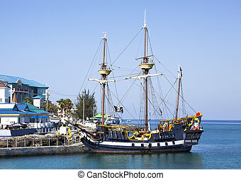 Pirate Ship - The replica of a pirate ship docked in George...