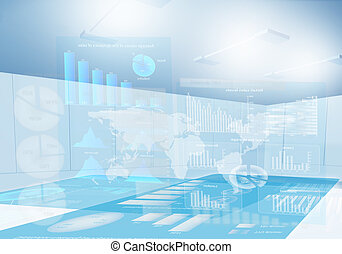 3 d presentation - Background image with market report on 3...