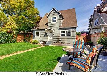 House backyard with patio area