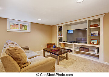 Living room interior in soft brown color