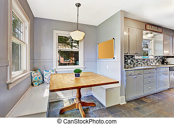 Kitchen room interior with small dining area