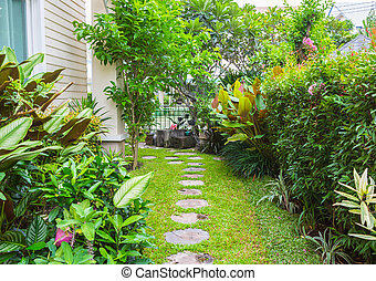 Flagstone path in home garden