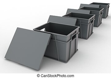 Open plastic containers with a lids