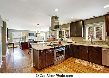 Dark brown kitchen room with steel appliances