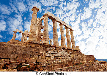 Temple of Poseidon, Athens, on Mediterranean sea - Temple of...
