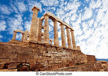Mediterráneo, atenas,  Poseidon, templo, mar