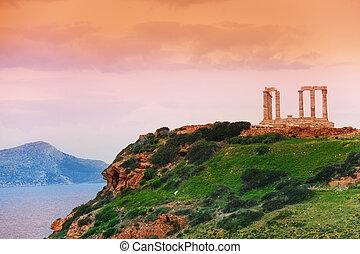 Poseidon, Grécia, verde, colina, mar, Templo