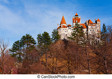View of Bran Castle from hilltop in Transylvania - Bran...