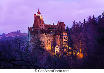 Bran Castle, Transylvania at night in Romania - Bran Castle...