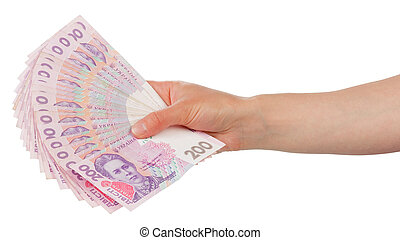 Ukrainian money in hand, isolated on white