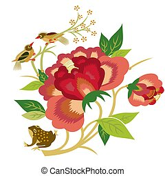 flowers and birds - illustration drawing of flowers and...