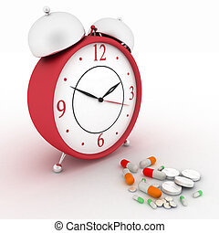 Medicine pills and red alarm clock - Medicine pills and red...