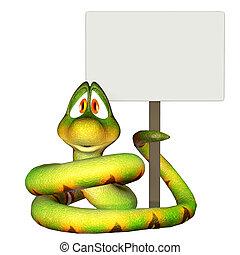 caricatura, serpiente, tenencia, blanco, señal