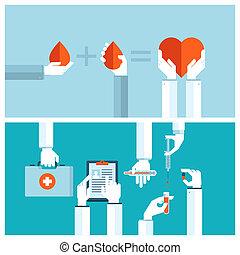Concepts for medical care - Set od flat design vector...