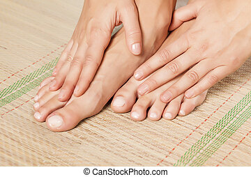 pedicure and manicure - nicely nursed women's feet and hands