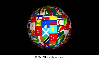 3d World Flag Globe Animation - A 3d globe made up of flags...