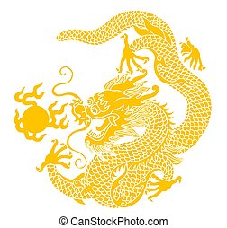 dragon - illustration drawing of yellow dragon playing ball
