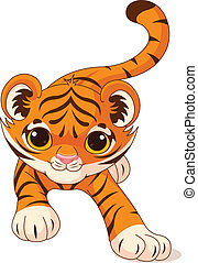 Crouching baby tiger - Illustration of crouching cute baby...