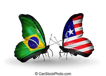 2, 蝶, 旗, 翼, シンボル, 関係, ブラジル,...