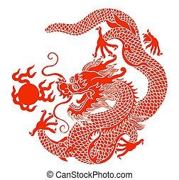 dragon - illustration drawing of yellow dragon playing ball