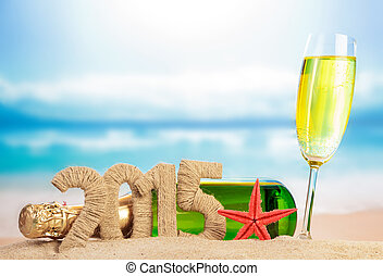 Champagne and New year sign - Champagne and New year 2015...