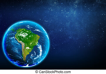Planet earth in space. South America