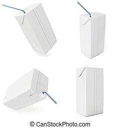 set white carton milk or juice 3d render