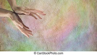 Sending distant healing banner - Healer's hands on pastel...