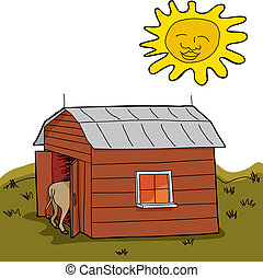 Dry Rural Scene - Sun shining over hot animal in barn during...