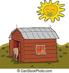 Dry Rural Scene - Sun shining over hot animal in barn during...