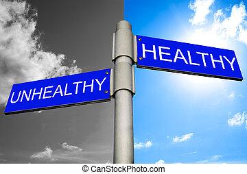 decisión, entre, sano, malsano
