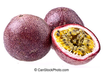 Passionfruit, completely isolated on white - Passionfruit,...
