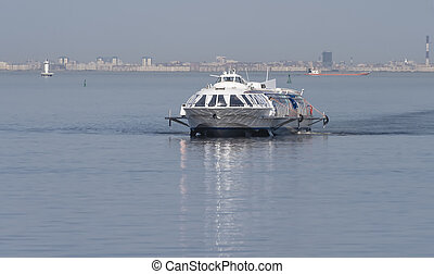 River passenger hydrofoil on the background of the Gulf of...