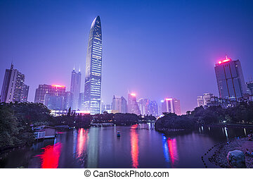 Shenzhen, China city skyline at twilight.