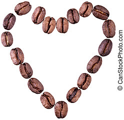 Heart Made Of Coffee Beans - Completely Isolated on White