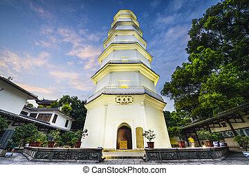 pagoda, Porcelana, biały,  fuzhou