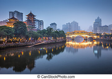 Chengdu, China On the Jin River - Chengdu, Sichuan, China at...