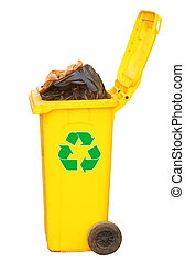 Overflowing yellow recycling bin with logo, clipping path. -...