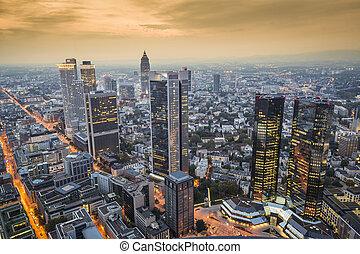 Frankfurt, Germany Cityscape at night.