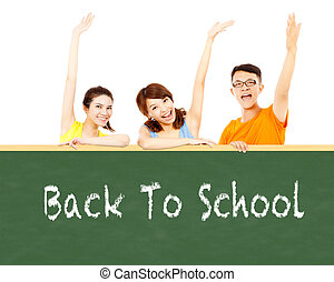 Back to school, young student raise hand to show