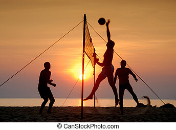 Beach volleyball Is a popular sport that is played on the...
