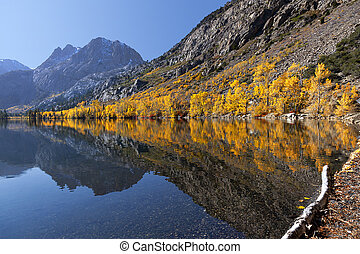 Reflection of Mountain Autumn Colors - Lake Reflection of...