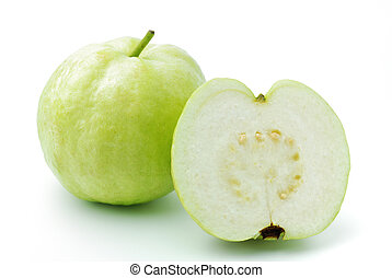 Guava fruit has green skin and white flesh, vitamin C
