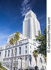 LA City Hall - Los Angeles, California, USA downtown at city...
