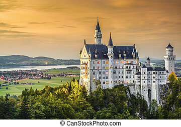 German Castle - Neuschwanstein Castle in the Bavarian Alps...