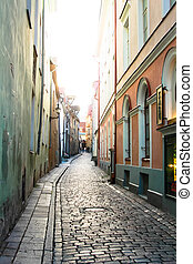 Tallin, Estonia - Beautiful street of the old city Tallin,...