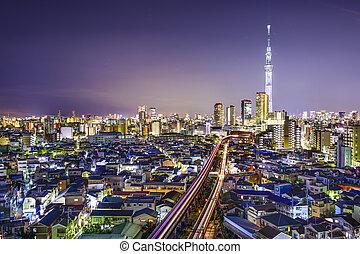Tokyo Japan at Sumida - Tokyo, Japan skyline at Sumida Ward.