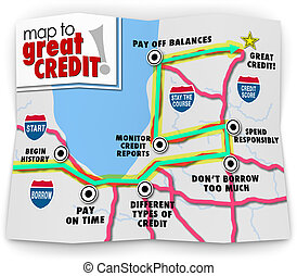 Map to Great Credit Score Rating Payment History Borrow Loan...